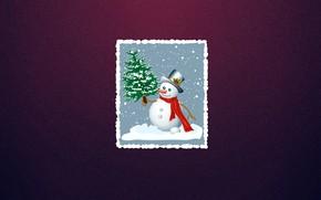 Картинка Зима, Минимализм, Фон, Новый год, Елка, Праздник, Открытка, Настроение, Снеговик