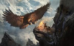 Обои Greg Rutkowski, Secret Pass - Eagle Nest, горы, герои, ситуация, орёл, fantasy