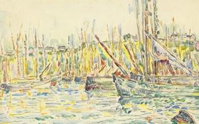 Картинка лодка, рисунок, акварель, гавань, Поль Синьяк, Порт Груа