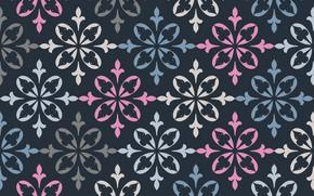 Обои цветы, ретро, узор, текстура, орнамент, синий фон