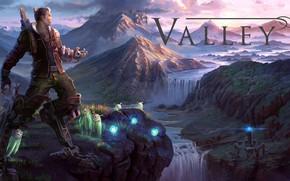 Картинка пейзаж, парень, valley