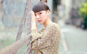 Картинка взгляд, лицо, забор, азиатка