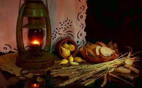 Картинка пшеница, лампа, лук, хлеб, натюрморт, деревенская еда