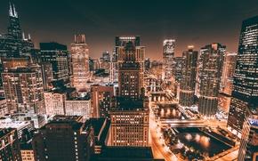 Обои США, город, ночь, Чикаго, огни