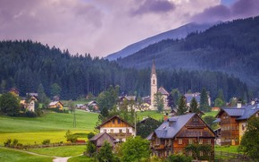 Картинка горы, дома, Австрия, долина, коровы, Альпы, церковь, Austria, Alps, Gosau Valley, Gosau, Гозау, Upper Austria