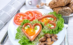 Обои сосиски, Сердце, Грибы, Овощи, Тарелка, Помидоры, Еда, Яичница, Томаты