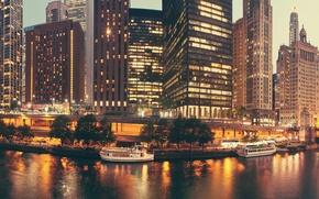 Картинка Вечер, Город, Дом, Чикаго, Залив, Небоскребы, США, Мосты, Катера, Причалы