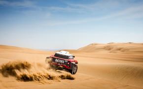 Обои Небо, Песок, Mini, Спорт, Пустыня, Rally, Dakar, Дакар, Ралли, Мини, Дюна, Buggy, Багги, X-Raid Team, ...