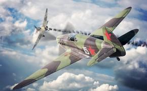 Картинка Artwork, Painting, Ju-87Stuka, Як-1