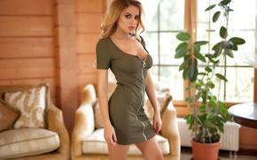 Картинка model, look, pose, green dress, Margot