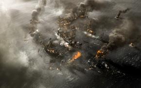 Обои ships, fire, explosion, destruction, cannons, sea, cinema, film, naval battle, figh, war, kaizoku, death, smoke, ...