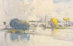 Картинка мост, рисунок, акварель, Тур, Arthur Streeton, Артур Стритон