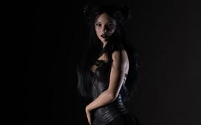 Картинка девушка, фон, чёрный