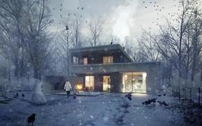 Картинка дом, снеговик, The Unbuilt House