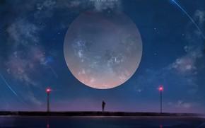 Обои арт, аниме, луна, ночь, девушка, aoi ogata, небо, звезды, облака