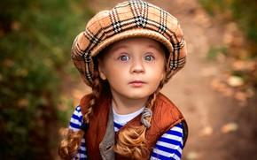 Картинка девочка, косички, кепка, мимика, Peter Rooney, Vasilina