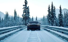 Обои road, небо, mountains, бампер, dodge, фары, елки, снег, мост, додж, lights, челленджер, дорога, горы, snow, ...