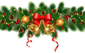 Картинка украшения, шары, елка, Новый Год, бант, колокольчики, шишки, New Year, Happy