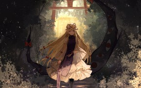 Обои девушка, аниме, арт, touhou, yakumo yukari, thkani