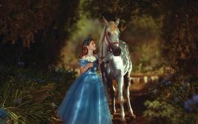 Картинка цветы, парк, настроение, конь, лошадь, платье, девочка, букетик