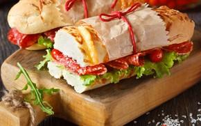 Картинка еда, хлеб, колбаса, бутерброды, помидоры-черри