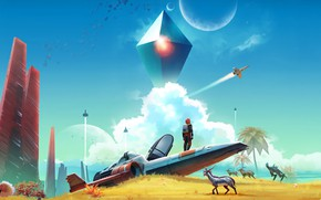 Картинка Планета, Корабль, Game, No Man's Sky, Hello Games