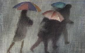Обои осень, зонты, серый фон, чёрные фигуры, Роберт Макинтош, проливной дождь