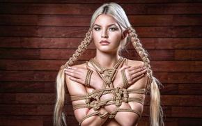 Обои верёвки, девушка, взгляд, портрет