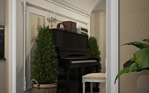 Картинка книги, растения, пианино, помещение, Kitchen&Dinning room
