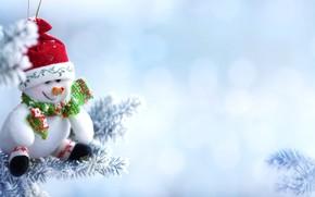 Обои снег, ветки, праздник, Новый год, снеговик