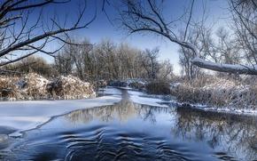 Картинка зима, снег, лёд, речка