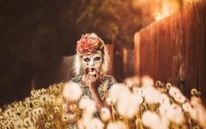 Картинка свет, маска, девочка, одуванчики