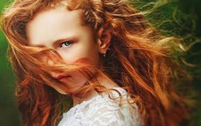 Картинка взгляд, лицо, волосы, портрет, девочка, рыжая, рыжеволосая