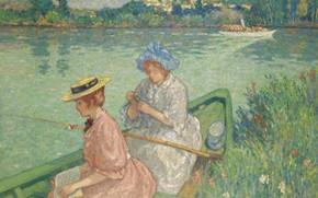 Картинка девушка, лодка, картина, шляпа, удочка, Рыбачки, Georges d'Espagnat