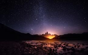 Картинка небо, звезды, свет, горы, ночь, Южная Америка
