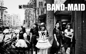 Картинка city, black & white, street, Misa, j-rock, Kanami Tōno, Miku Kobato, band-maid, Akane Hirose, all-girls, …