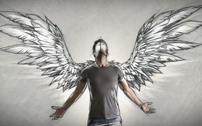 Обои человек, крылья, ангел, автор, мужчина, Sketch, Sebastien DEL GROSSO