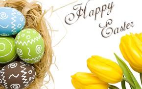 Картинка Пасха, гнездо, тюльпаны, крашенки