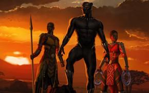 Картинка закат, девушки, Африка, girls, Marvel, movie, 2018, Africa, EXCLUSIVE, Black Panther, T`Challa, MCU, Wakanda, Черная ...