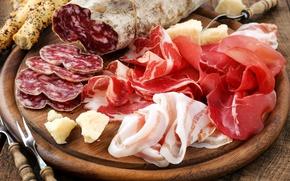 Картинка мясо, колбаса, нарезка, хамон, сало