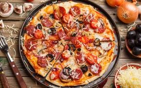 Картинка пицца, начинка, помидор