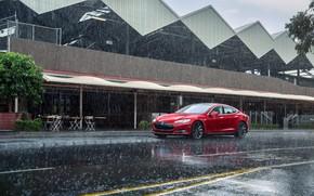Картинка Красный, Дождь, Автомобиль, Model, Tesla, Motors, P85, 2012-14