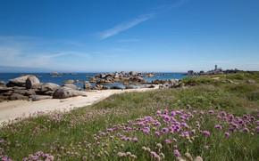 Картинка побережье, Франция, France, Brittany, Бретань, Brignogan-Plage