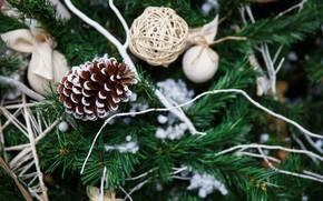 Картинка украшения, игрушки, елка, Новый Год, Рождество, happy, Christmas, шишки, New Year, Merry Christmas, Xmas, decoration
