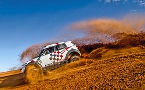 Картинка Песок, Mini, Пыль, Белый, Спорт, Скорость, Гонка, Rally, Ралли, Дюна, Спуск, Raid, MINI Cooper, X-Raid