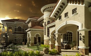 Картинка дизайн, дом, растительность, двор, SPANISH VILLA