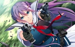 Картинка взгляд, девушка, пистолеты, арт, Grisaia: Phantom Trigger