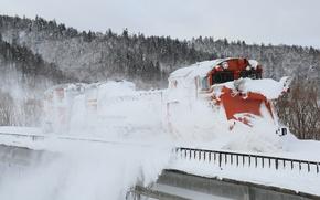 Картинка зима, снег, поезд, очищение