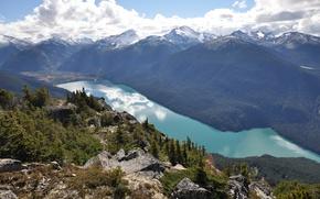 Картинка небо, облака, горы, озеро, Канада, Canada, British Columbia, Whistler, Уистлер, Cheakamus Lake