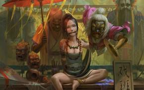 Обои поза, женщина, чудовище, маски, рабыня